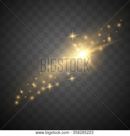 Golden Sparkles. The Dust Sparks And Golden Stars Shine With Special Light Effect. Sparkling Magical