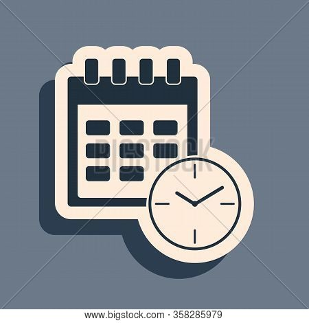 Black Calendar And Clock Icon Isolated On Grey Background. Schedule, Appointment, Organizer, Timeshe