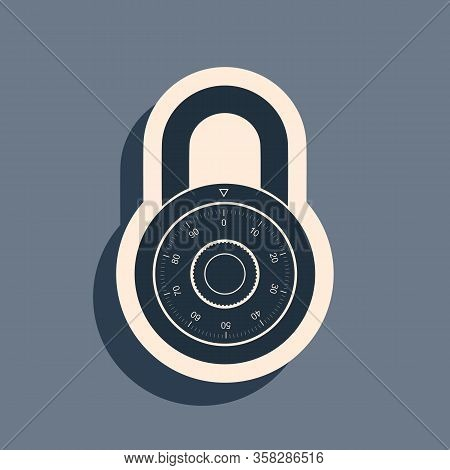 Black Safe Combination Lock Wheel Icon Isolated On Grey Background. Combination Padlock. Protection