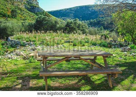 Sitting Area At Parc Natural De La Peninsula De Llevant On The Island Of Mallorca, Spain