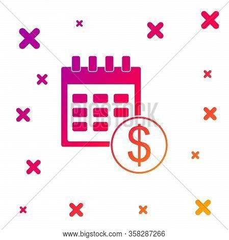 Color Financial Calendar Icon Isolated On White Background. Annual Payment Day, Monthly Budget Plann