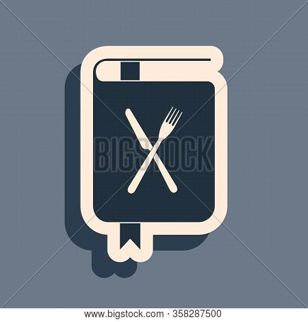 Black Cookbook Icon Isolated On Grey Background. Cooking Book Icon. Recipe Book. Fork And Knife Icon