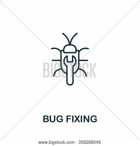Bug Fixing Icon From Seo Collection. Simple Line Bug Fixing Icon For Templates, Web Design And Infog