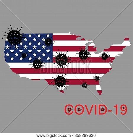 Illustration Vector Graphic Of Coronavirus Outbreak Warning Against A Usa Map Background. Corona Vir