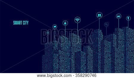 Concept Of Smart City, Graphic Of Buildings Combined With Electronic Pattern