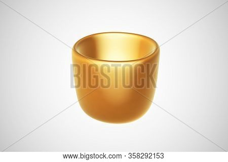 3d Golden Mug On White Background. Concept Of Wealth, Luxury, Profitable Business And Successful Inv