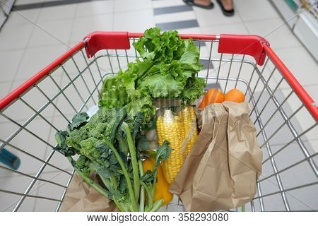 Close Up Of Fruits And Vegetable In A Shopping Trolly
