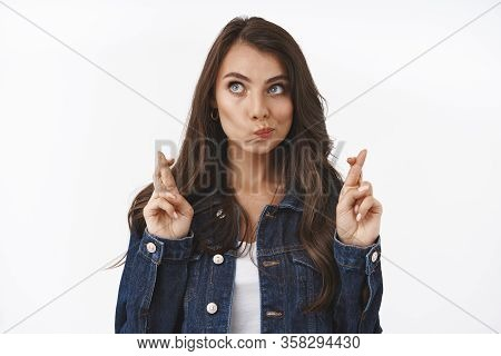 Thoughtful, Attractive Young Caucasian Woman Aspire For Something, Thinking, Imaging Buy Favorite Co