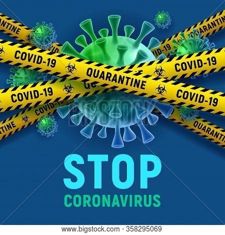 Covid-19. Coronavirus Disease Outbreak. Banner Design With Volumetric Virus Cells Behind Of Danger T