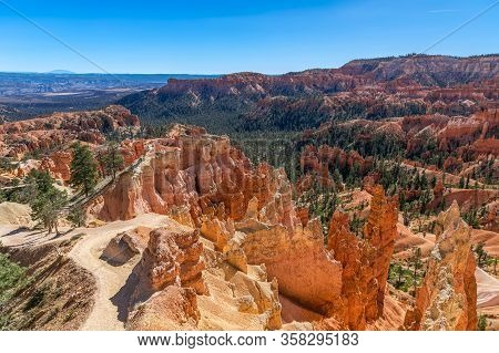 Panoramic View Of Amazing Hoodoos Sandstone Formations In Scenic Bryce Canyon National Parkon On A S