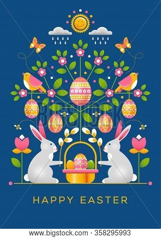 Easter Greeting Card With Ornament In Unusual Style. Has Dot Texture, Easy To Use And Modify. Easter