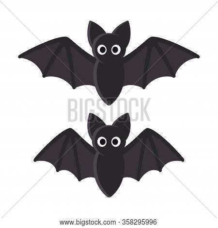 Cute Cartoon Bat Illustration. Flying Bat With Spread And Folded Wings, Flight Animation. Funny Hall