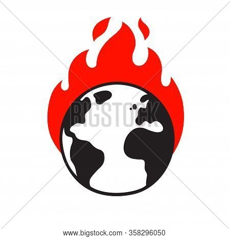 Planet Earth On Fire, Global Warming And Climate Crisis Drawing. Environment And Ecology Vector Clip