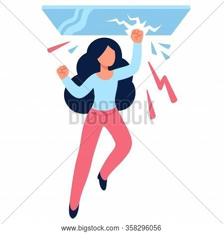 Cartoon Woman Drawing Breaking Glass Ceiling. Sexism Issues In Work Culture. Simple Flat Vector Styl