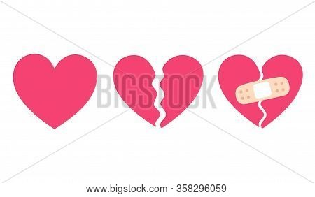 Cartoon Heart Set, Broken Heart And Crack Fixed With Bandage. Breakup And Heartbreak Symbol. Simple
