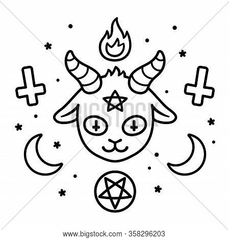 Cute Satan Sign Drawing, Cartoon Devil Goat Head With Pentagram, Fire, Crescent Moons And Upside Dow