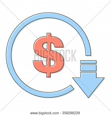 Cost Reduction- Decrease Dollar Icon. Vector Symbol Image Isolated On Background .