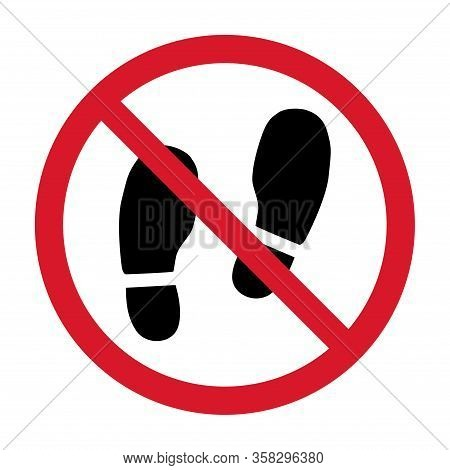 No Shoes Sign Isolated On White Background. Warning Vector Symbol. Graphic Illustration