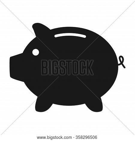 Piggy Bank Flat Icon Vector With No Symbol. Money Income