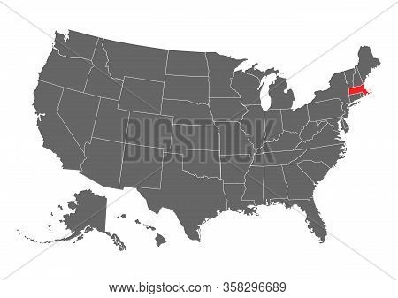 Massachusetts Vector Map. High Detailed Illustration. United State Of America Country