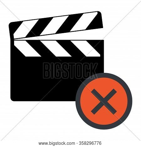 Clapper Board Icon On White Background. Vector Flat Film Video Illustration