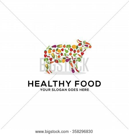 Healthy Food Logo Design Vector, Fresh Fruits And Vegetables Drawing Sheep Abstract Illustration