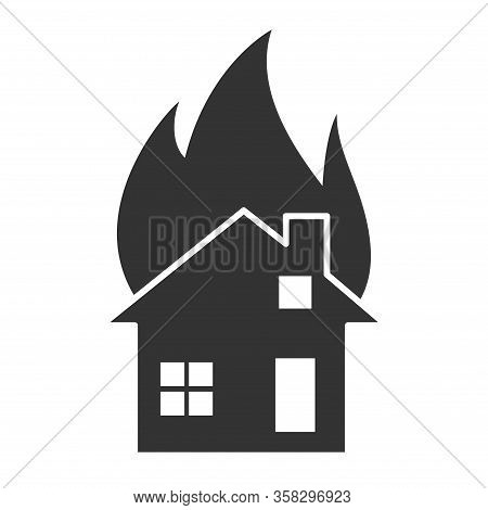 Fire Flame House Icon. Fire Hot Flames Vector Sign Isolated On White Background