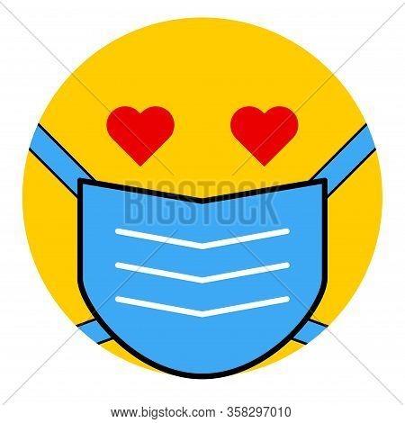 Mouth Heart Mask Icon, Safety Breathing Symbol Isolated On White Background, Vector Illustration