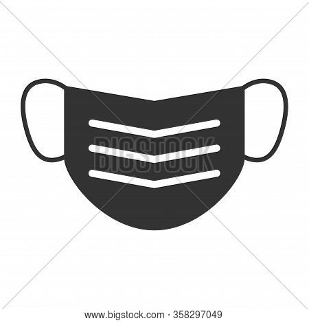 Mouth Mask Icon, Safety Breathing Symbol Isolated On White Background, Vector Illustration