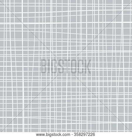 Subtle Line Pattern, Checked Background, Rough Grid Backdrop, Burlap Or Canvas, Vector Illustration