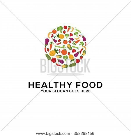 Healthy Food Logo Design Vector, Fresh Fruits And Vegetables Drawing Circle Abstract Illustration