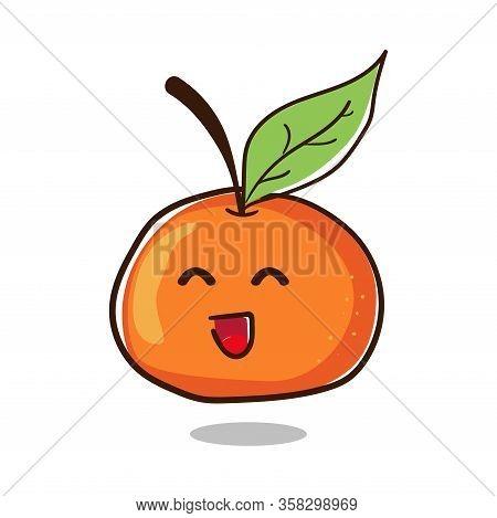 Happy Orange. Cute Fruit Character Vector Design