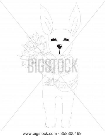 Easter Rabbit With Egg And Tulip Flower Coloring Page. Easter Bunny Coloring. Easter Coloring Card.