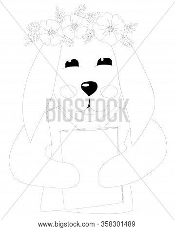 Easter Rabbit With Flower Coloring Page