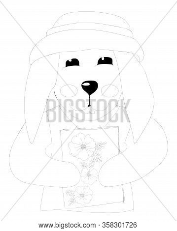 Easter Rabbit With Flower Coloring Page. Easter Bunny Coloring. Easter Coloring Card.