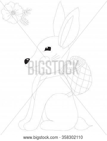 Easter Rabbit With Egg In Basket And Flower Coloring Page