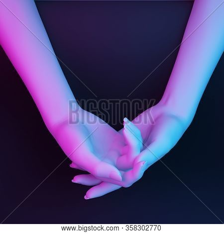 White Hand Supports Self Hand In Pink Blue Light. 3d Rendering