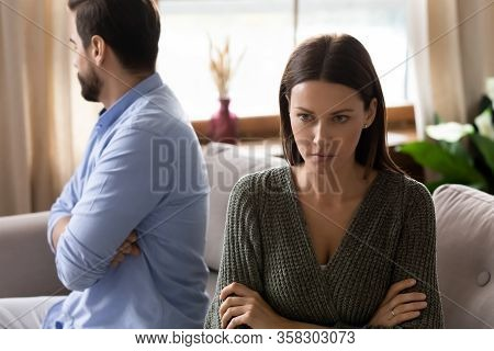 Stressed Depressed Couple Ignoring Each Other After Quarrel.