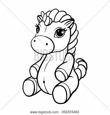 Vector Illustration Of Cute Horse, Pony With A Magnificent Mane And Tail