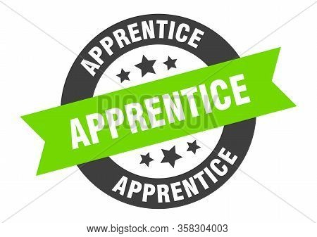 Apprentice Sign. Apprentice Round Green Ribbon Sticker