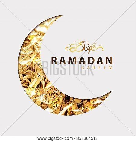 Ramadan Vector Illustration With Golden Arabic Calligraphy Text Of Ramadan Kareem, Gold Foil Shining