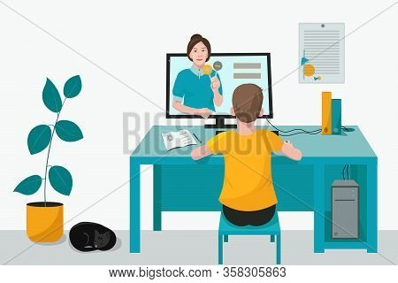 Child, Student Listens To The Lesson Of The Teacher, Is Distance Learning Online. Room With Computer