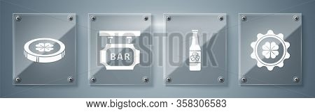 Set Bottle Cap With Four Leaf Clover, Beer Bottle With Four Leaf Clover, Street Signboard With Inscr