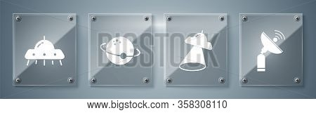 Set Radar, Ufo Flying Spaceship, Planet And Ufo Flying Spaceship. Square Glass Panels. Vector