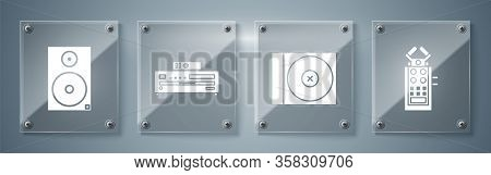 Set Microphone, Cd Or Dvd Disk, Music Cd Player And Stereo Speaker. Square Glass Panels. Vector