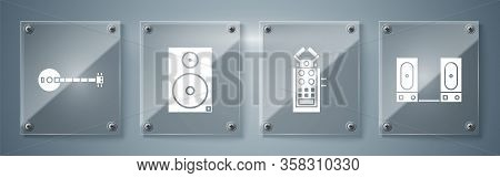 Set Stereo Speaker, Microphone, Stereo Speaker And Banjo. Square Glass Panels. Vector