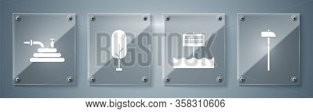 Set Hammer, Blank Wooden Sign Board, Tree And Garden Hose Or Fire Hose. Square Glass Panels. Vector