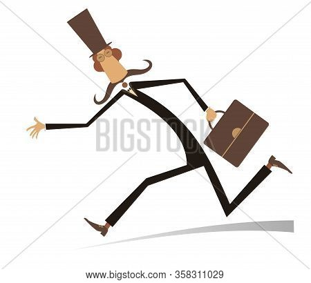 Hurry And Busy Man Isolated Illustration. Hurry And Busy Long Mustache Man In The Top Hat With A Bag