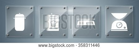 Set Scales, Electronic Scales, Cookbook And Cooking Pot. Square Glass Panels. Vector