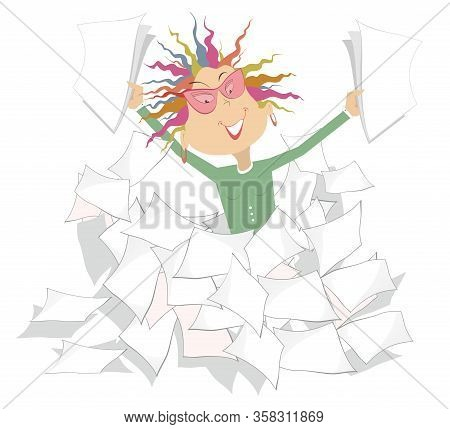 Businesswoman And A Pile Of Papers Or Documents Illustration. Pretty Smiling Woman With Papers In Bo